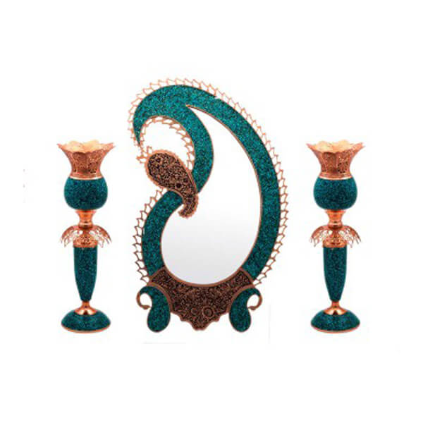 Turquoise Inlaying Mirror & Candlestick