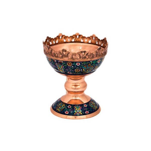 Painted Copper Pedestal Bowl
